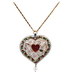 18 Karat Yellow Gold Vintage Enamel Heart Necklace with Pearl Drop