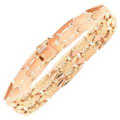 18 Karat Yellow Gold Vintage Floral Link Bracelet