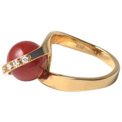 18 Karat Yellow Gold Vintage Oxblood Coral Ring with Diamonds