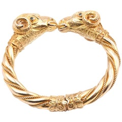 18 Karat Yellow Gold Vintage Ram Bangle Bracelet
