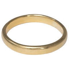 18 Karat Yellow Gold Vintage Wedding Band Ring, Ring