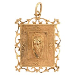 18 Karat Yellow Gold Virgin Mary Pendant
