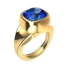 18 Karat Yellow Gold Vivid Cushion Cut Blue Sapphire Sculpture Ring