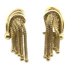18 Karat Yellow Gold Waterfall Clip-On Earrings, 1950s