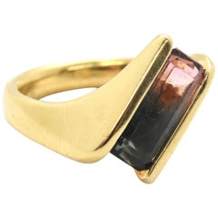 18 Karat Yellow Gold Watermelon Tourmaline Ring
