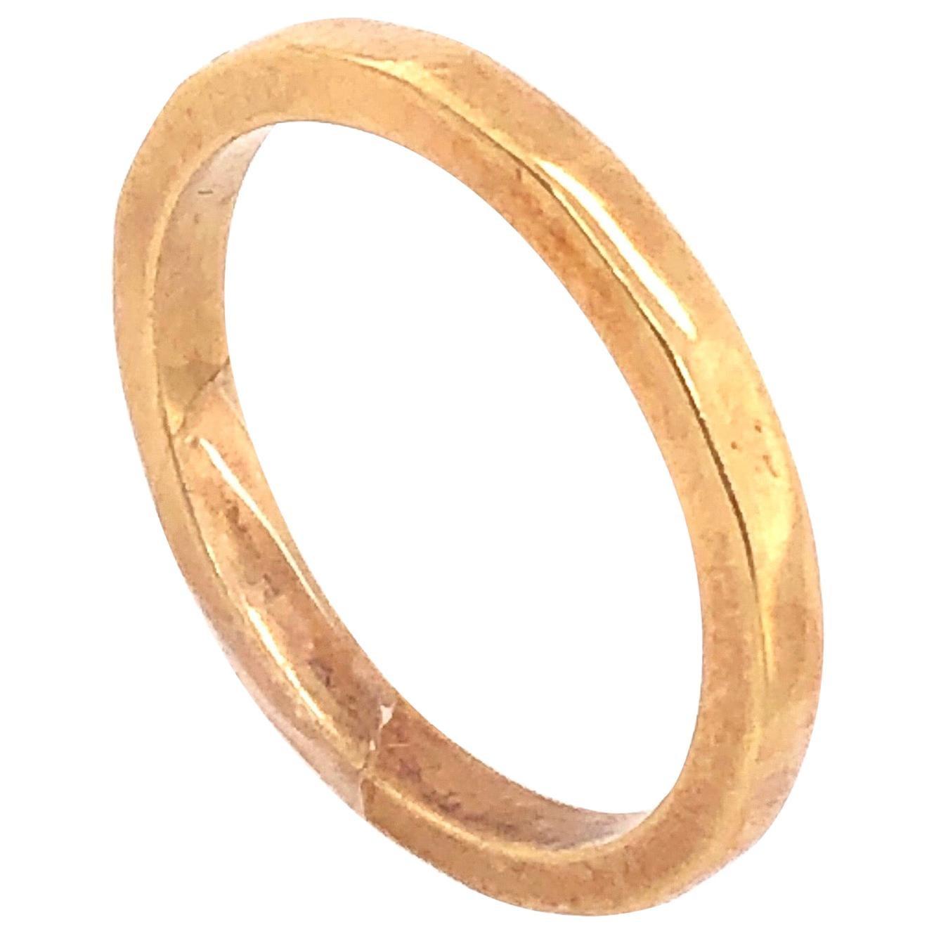 18 Karat Yellow Gold Wedding Band Bridal Ring