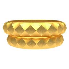 18 Karat Yellow Gold Wedding Ring Bridal Set