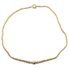 18 Karat Yellow Gold Wheat Chain with Diamond Station