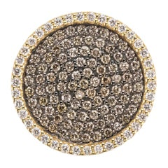18 Karat Yellow Gold White and Brown Diamonds Cocktail Ring