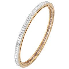 18 Karat Yellow Gold White Diamond Bangle