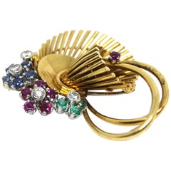 18 Karat Yellow Gold, White Diamond, Blue Sapphire and Ruby Spray Brooch