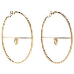 18 Karat Yellow Gold White Diamond Calvet Pear Illusion Spoke Hoop Earrings