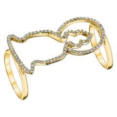 18 Karat Yellow Gold, White Diamond Double Silhouette Buddha Ring