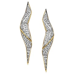 18 Karat Yellow Gold White Diamond Drop Earrings