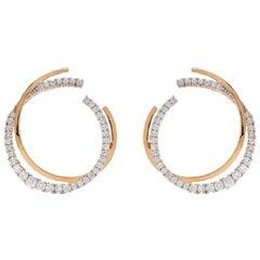 18 Karat Yellow Gold White Diamond Icicle Double Hoop Earrings
