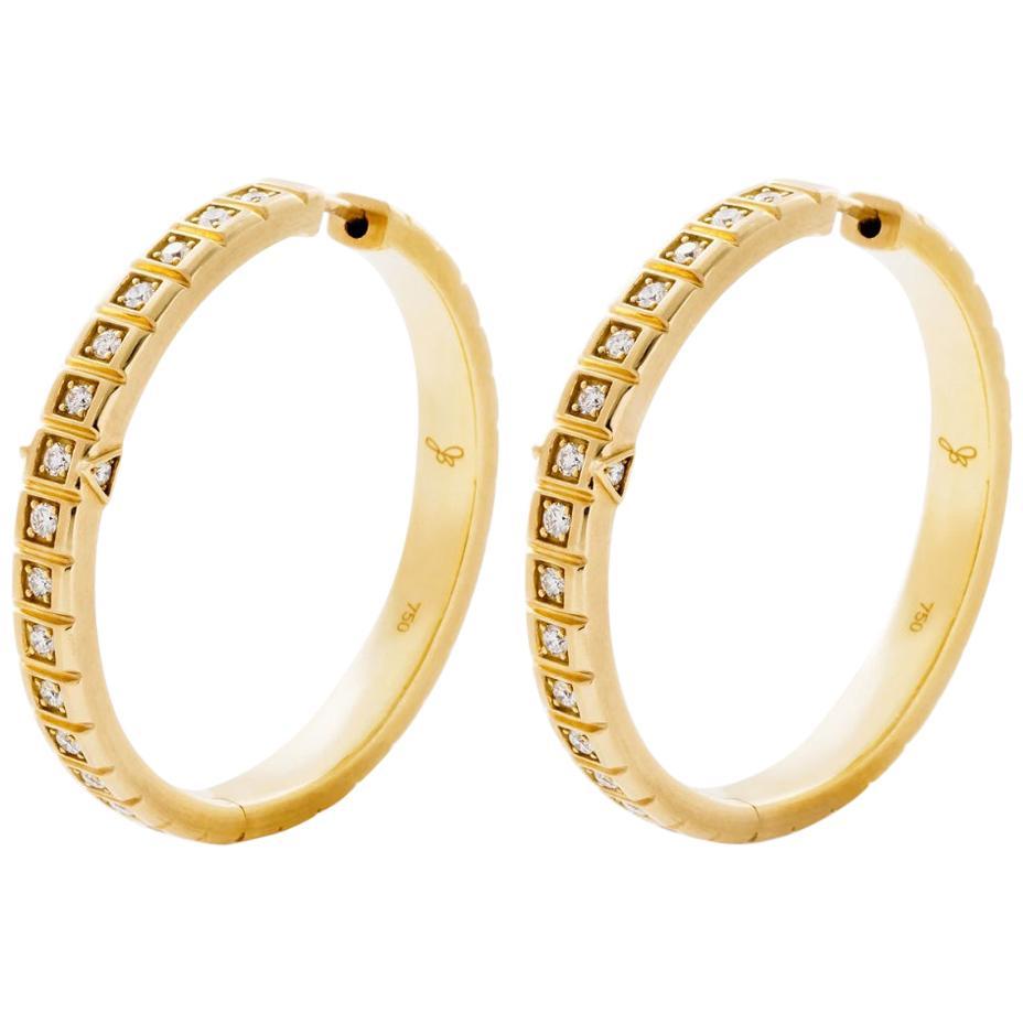18 Karat Yellow Gold White Diamond Large Carousel Hoops