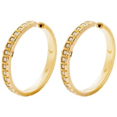 18 Karat Yellow Gold White Diamond Large Carousel Hoops