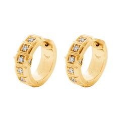 18 Karat Yellow Gold White Diamond Small Carousel Hoops