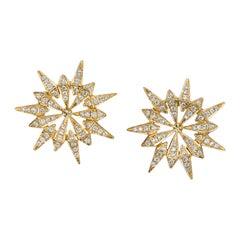 18 Karat Yellow Gold White Diamond Sunburst Studs
