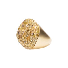 18 Karat Yellow Gold, White Diamonds '6.45 Carat' Malak Icy Special Round Ring