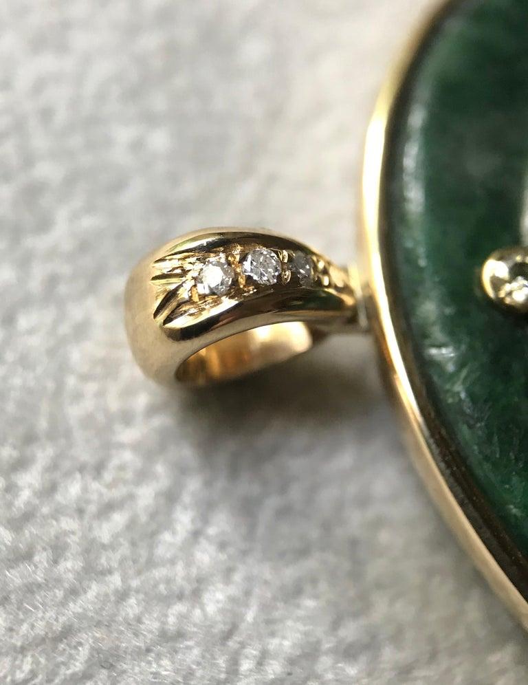 18 Karat Yellow Gold White Diamonds Green Spinach Jade Buddha Pendant Necklace For Sale 2