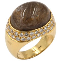 18 Karat Yellow Gold White Diamonds Rutilated Quartz Garavelli Ring
