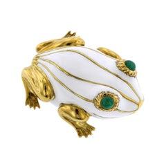 18 Karat Yellow Gold White Enamel and Emerald Frog Brooch