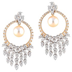 18 Karat Yellow Gold White Gold Pearl White Diamond Chandelier Earrings