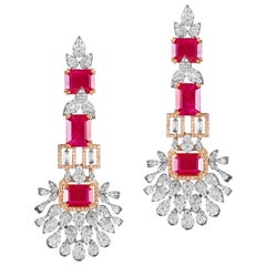 18 Karat Yellow Gold White Gold Rubies White Diamond Chandelier Earrings