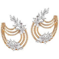18 Karat Yellow Gold White Gold White Diamond Earrings
