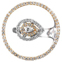 18 Karat Yellow Gold White Gold White Diamond Ring