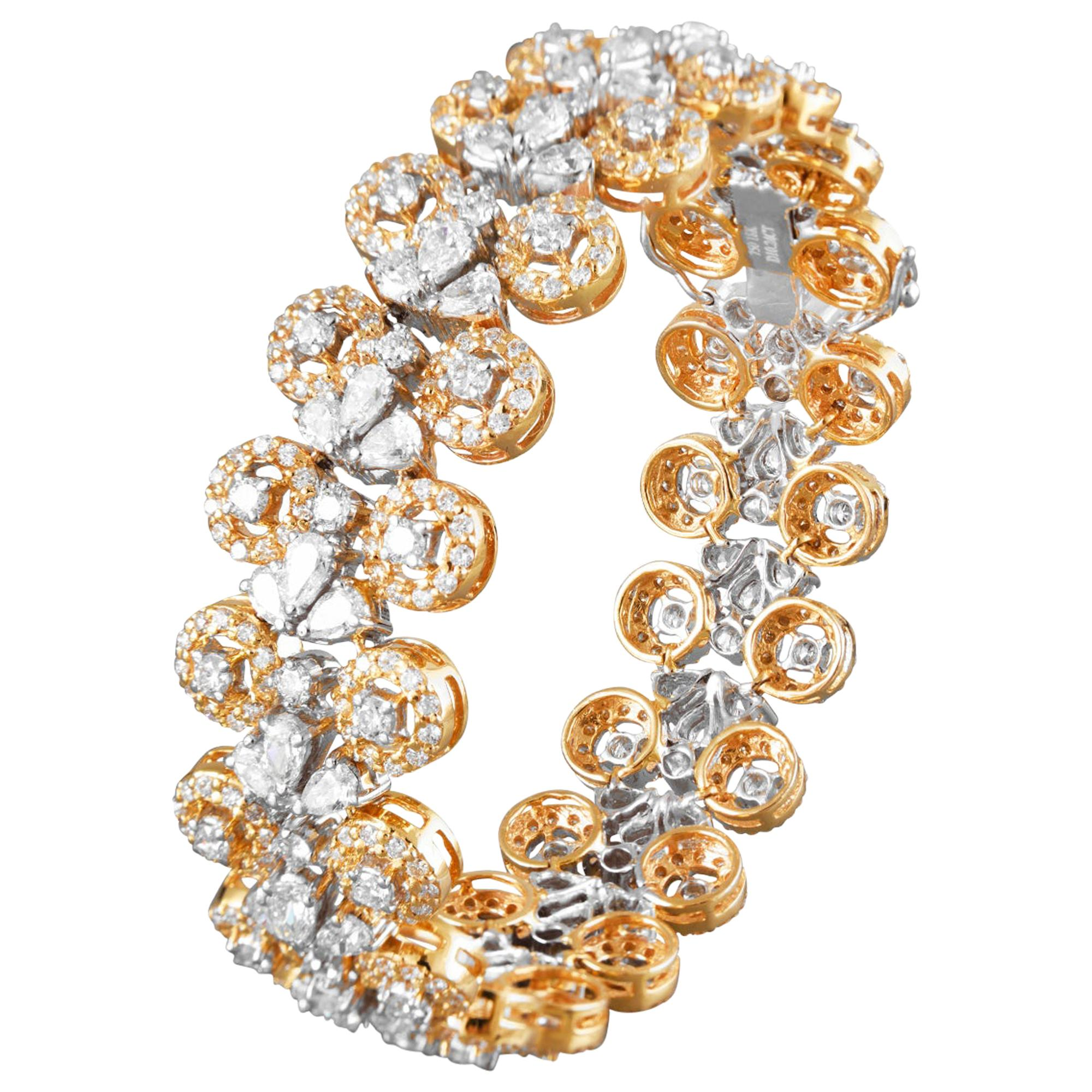 18 Karat Yellow Gold White Gold White Diamond Tennis Bracelet