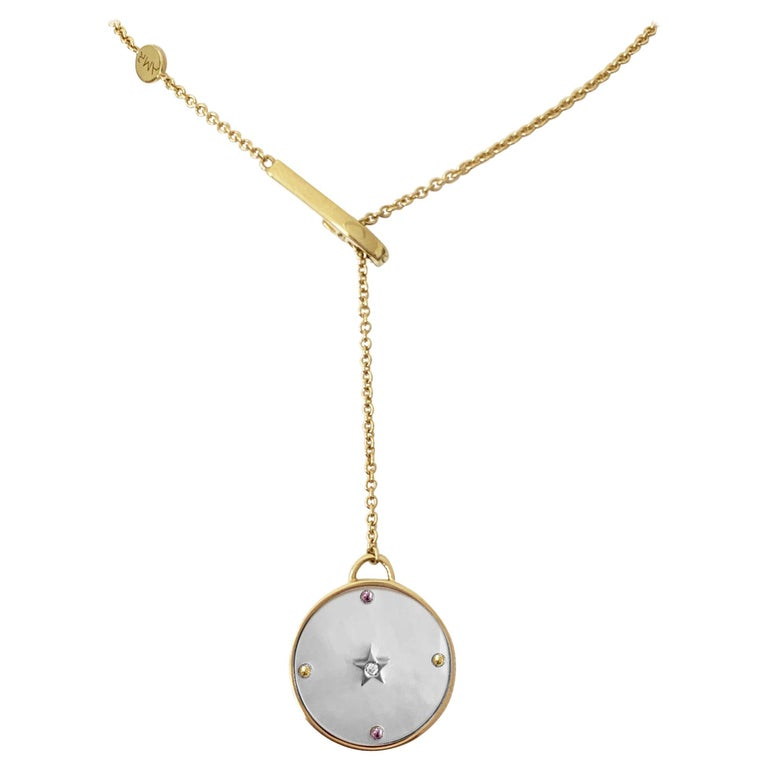18 Karat Yellow Gold, White Mother of Pearl, Sapphires, Diamond Pendant Necklace 1