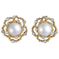 18 Karat Yellow Gold White South Sea Pearls and 0.41 Carat of Diamonds Earrings
