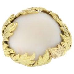 18 Karat Yellow Gold White Stone Cocktail Ring