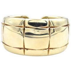 18 Karat Yellow Gold Wide Checkerboard Cuff Bracelet