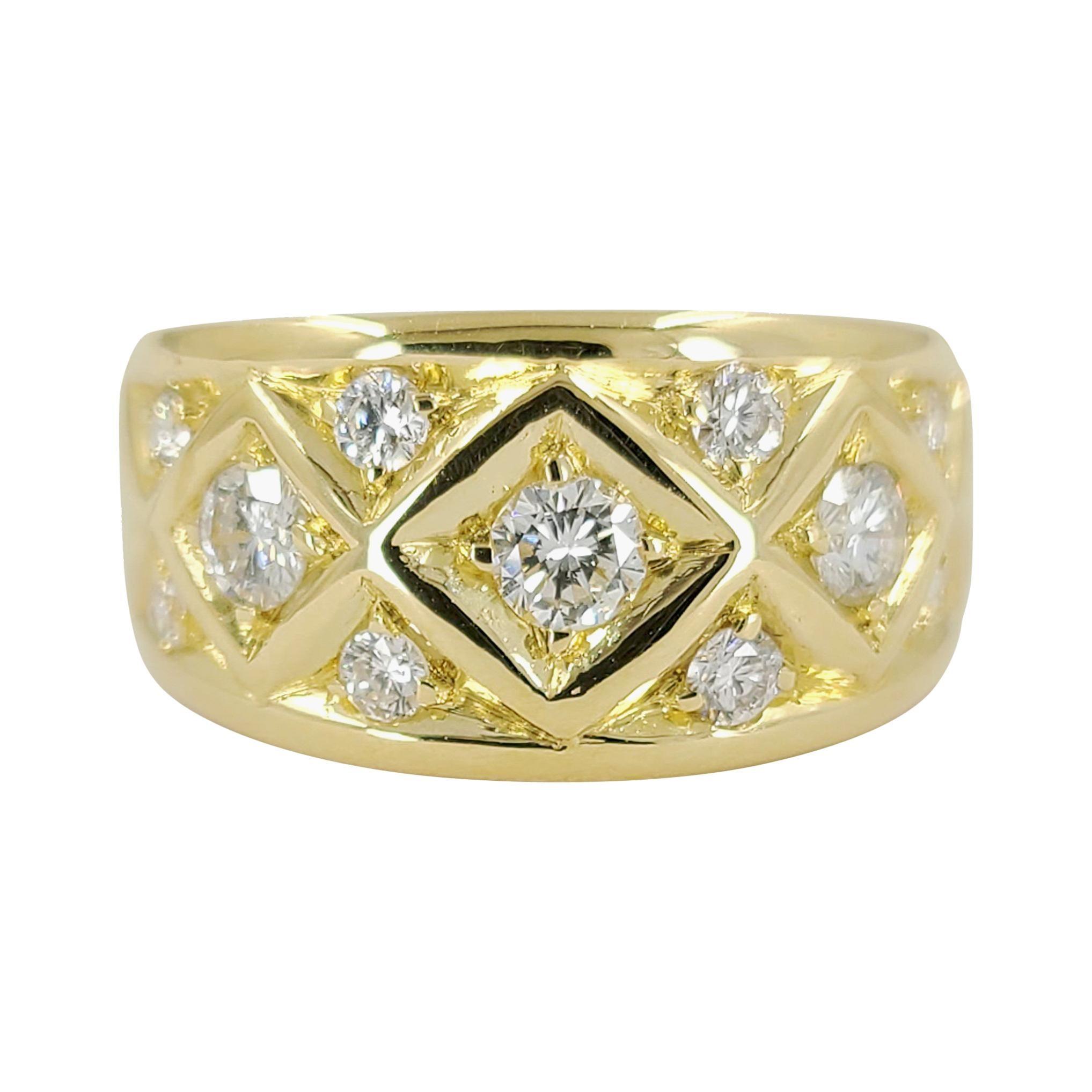 18 Karat Yellow Gold Wide Diamond Band Ring