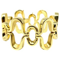 18 Karat Yellow Gold Wide Fancy Link Bracelet