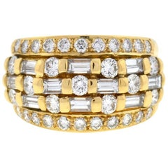 18 Karat Yellow Gold Wide Five-Row Ring