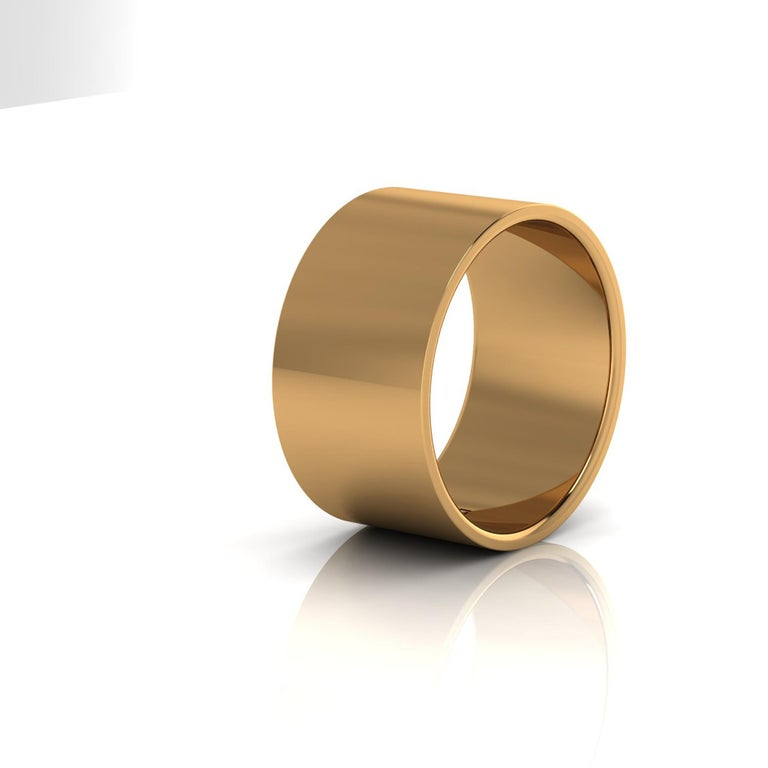 Modern 18 Karat Yellow Gold Wide Flat Band Stackable Ring For Sale