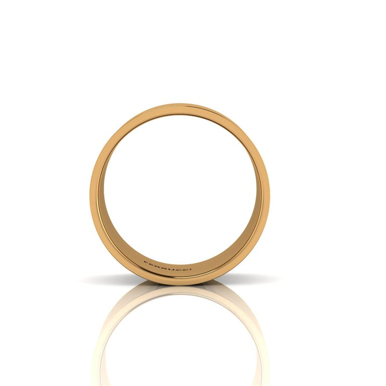 18 Karat Yellow Gold Wide Flat Band Stackable Ring In New Condition For Sale In New York, NY