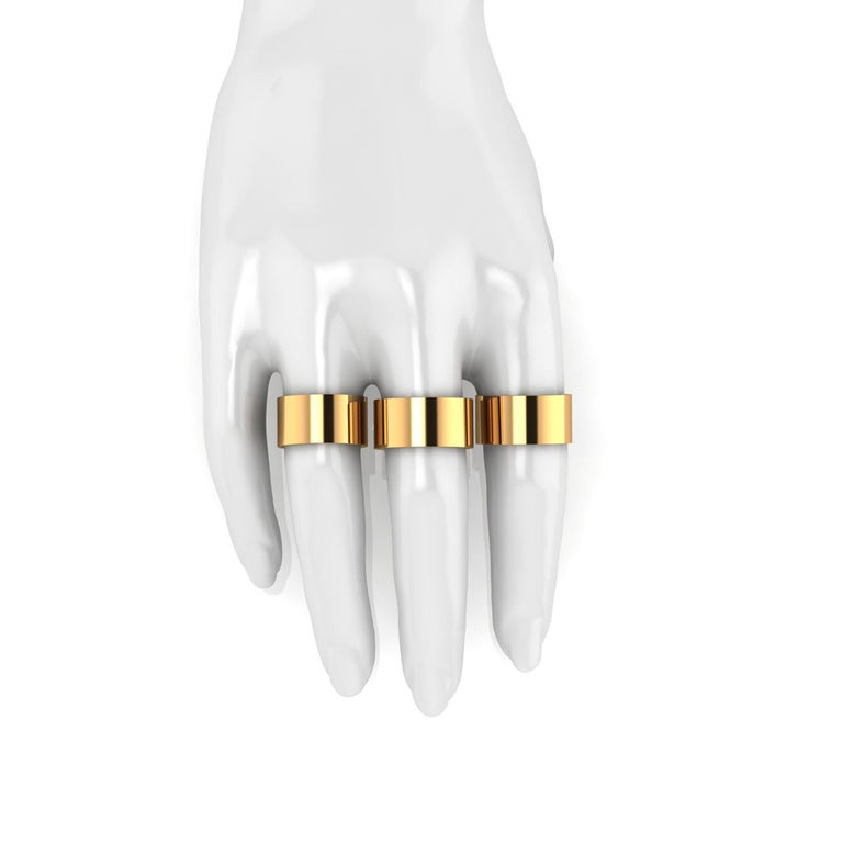 Women's or Men's 18 Karat Yellow Gold Wide Flat Band Stackable Ring For Sale