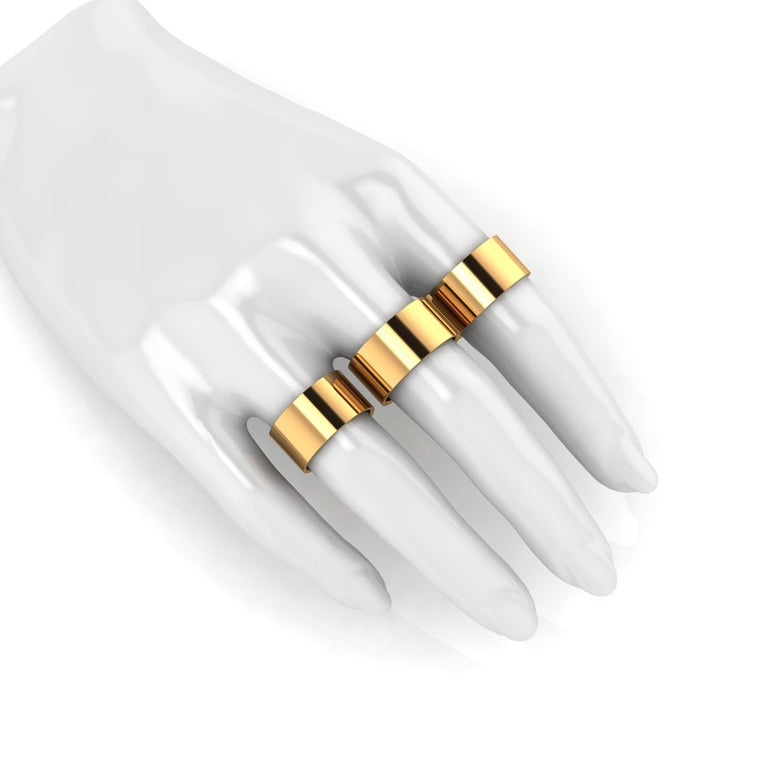 18 Karat Yellow Gold Wide Flat Band Stackable Ring For Sale 1
