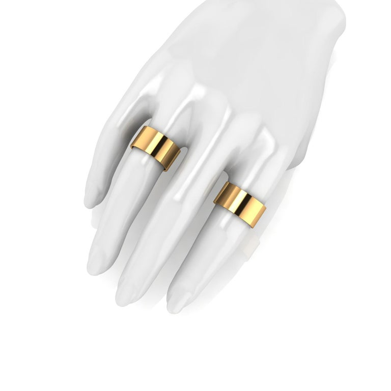 18 Karat Yellow Gold Wide Flat Band Stackable Ring For Sale 3