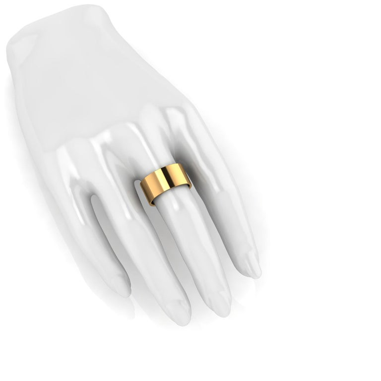 18 Karat Yellow Gold Wide Flat Band Stackable Ring For Sale 4