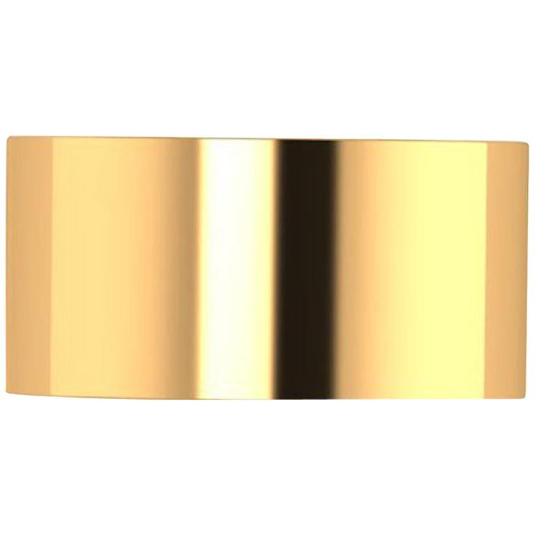 18 Karat Yellow Gold Wide Flat Band Stackable Ring For Sale