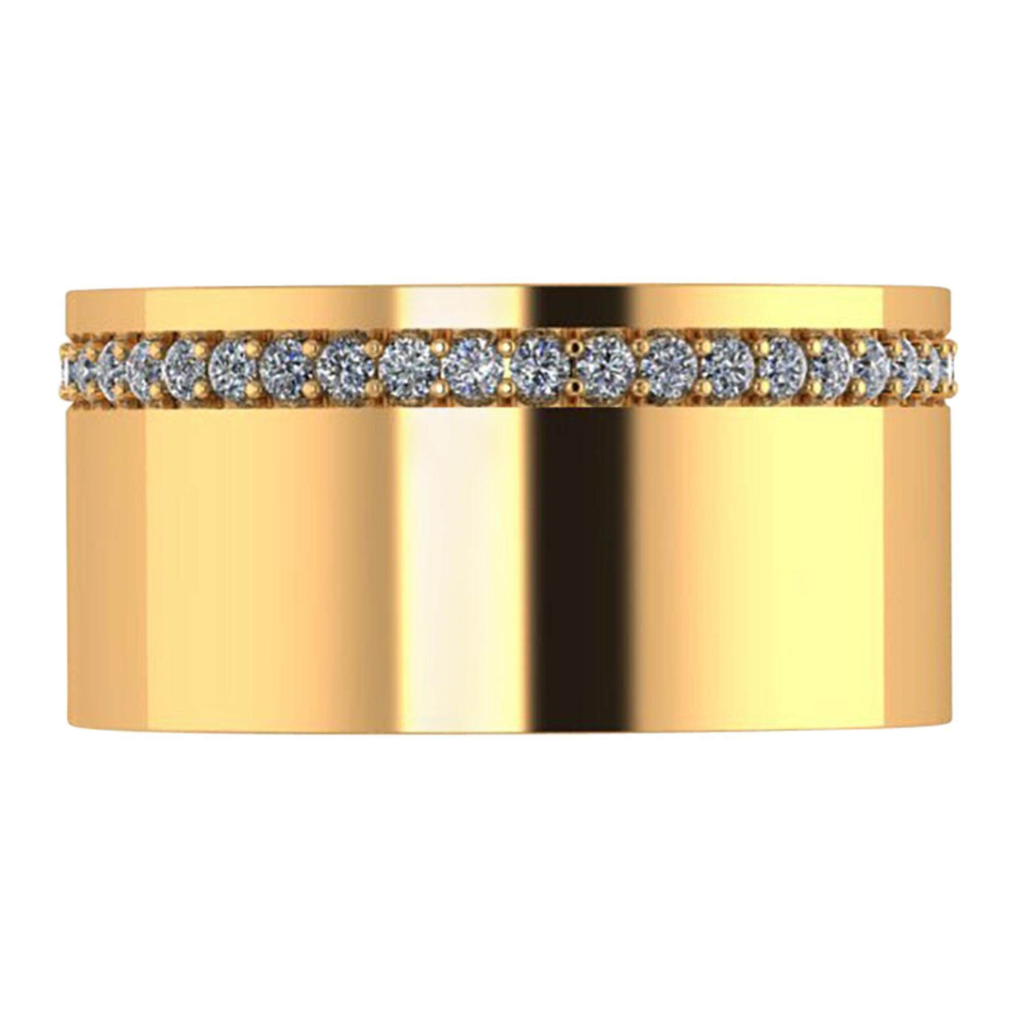 18 Karat Yellow Gold Wide Flat Band White Diamonds Pavé Stackable Ring