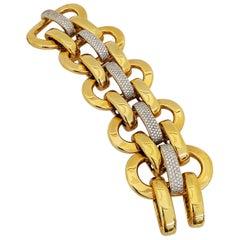 18 Karat Yellow Gold Wide Link Bracelet with 5.64 Carat of Diamonds