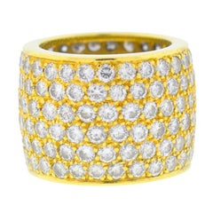 18 Karat Yellow Gold Wide Six Rows Diamond Band 7.8 Carat