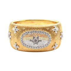 18 Karat Yellow Gold Wide Vintage Diamond Snowflake Cuff Bracelet